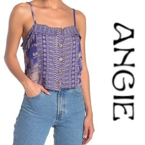 3 for $50 Angie Tropical Button Front Tank Sz L
